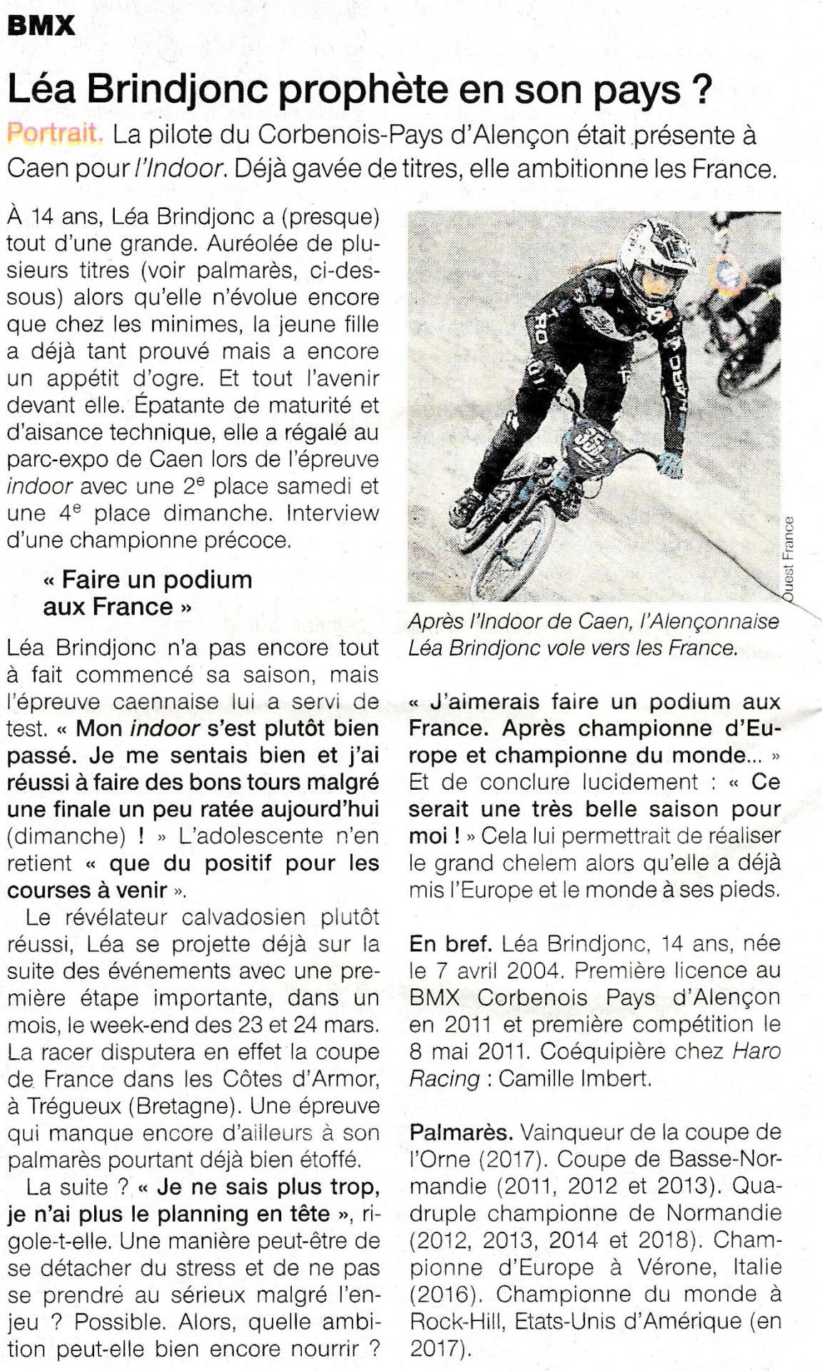 Bmx article ouest france lea brindjonc